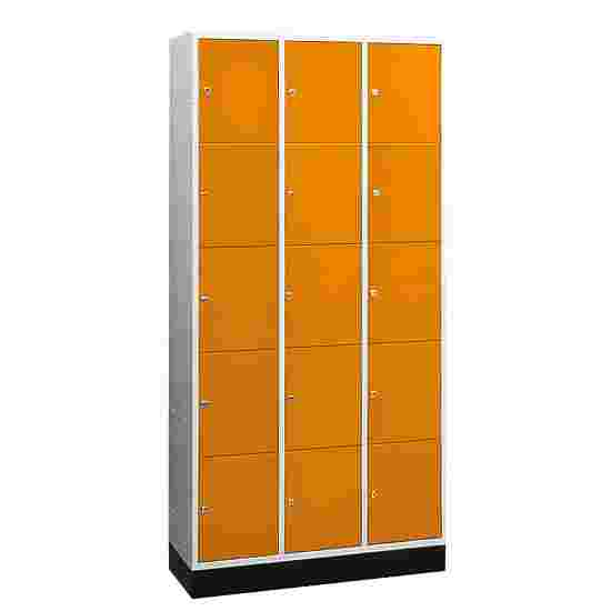 """""""S 4000 Intro"""" Compartment Locker (5 compartments on top of one another) 195x92x49cm/ 15 compartments, Yellow orange (RAL 2000)"""