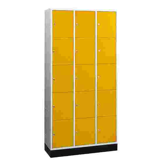 """""""S 4000 Intro"""" Compartment Locker (5 compartments on top of one another) 195x92x49cm/ 15 compartments, Sunny Yellow (RDS 080 80 60)"""