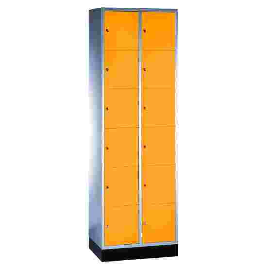 """""""S 4000 Intro"""" Compartment Locker (6 compartments on top of one another) 195x62x49cm/ 12 compartments, Yellow orange (RAL 2000)"""