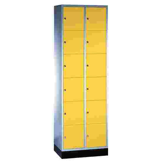 """""""S 4000 Intro"""" Compartment Locker (6 compartments on top of one another) 195x62x49cm/ 12 compartments, Sunny Yellow (RDS 080 80 60)"""