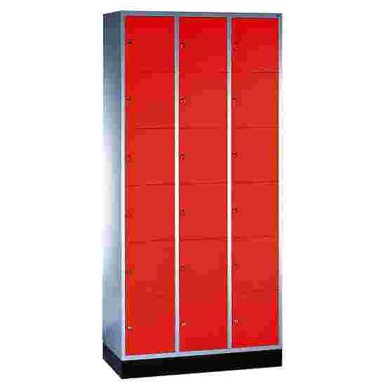 """""""S 4000 Intro"""" Compartment Locker (6 compartments on top of one another) 195x92x49cm/ 18 compartments, Fiery Red (RAL 3000)"""