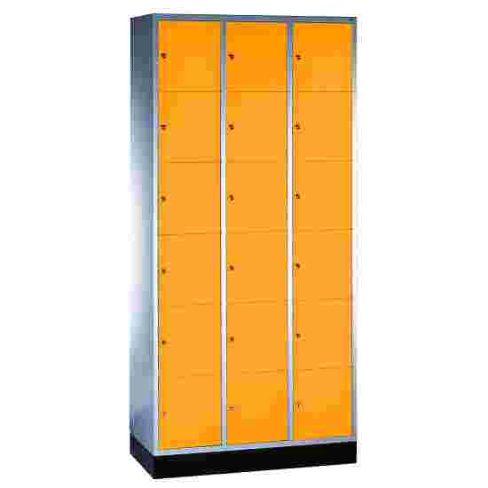 """""""S 4000 Intro"""" Compartment Locker (6 compartments on top of one another) 195x92x49cm/ 18 compartments, Yellow orange (RAL 2000)"""