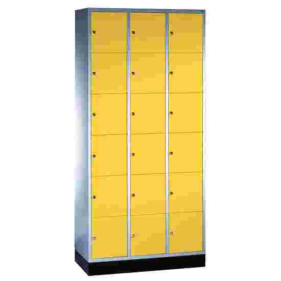 """""""S 4000 Intro"""" Compartment Locker (6 compartments on top of one another) 195x92x49cm/ 18 compartments, Sunny Yellow (RDS 080 80 60)"""