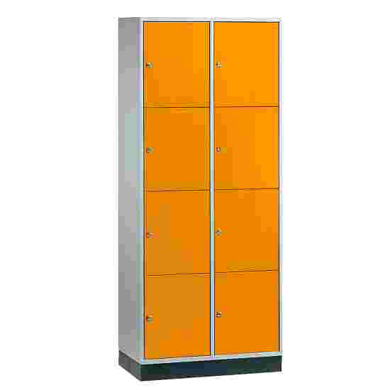 """S 4000 Intro"" Large Capacity Compartment Locker (4-Door Locker) 195x82x49 cm/ 8 compartments, Yellow orange (RAL 2000)"