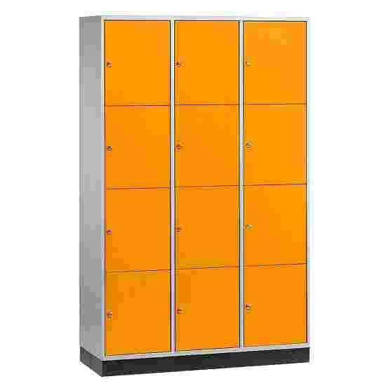 """S 4000 Intro"" Large Capacity Compartment Locker (4-Door Locker) 195x122x49 cm/ 12 compartments, Yellow orange (RAL 2000)"