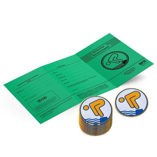 Set Deutsches Schwimmabzeichen inkl. Zeugnissen Gold, Mit Bügelbeschichtung, rund lasergeschnitten