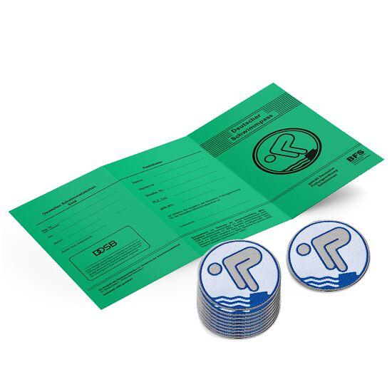 Set Deutsches Schwimmabzeichen inkl. Zeugnissen Silber, Mit Bügelbeschichtung, rund lasergeschnitten