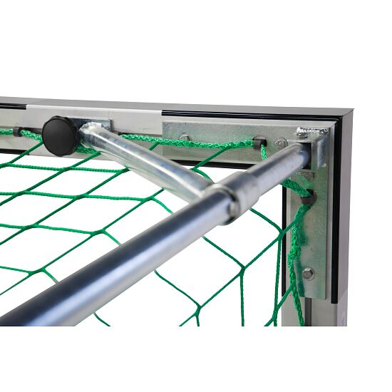 Sport-Thieme 3x2 m, stands in ground sockets, with folding net brackets Handball Goal Bolted corner joints, Black/silver