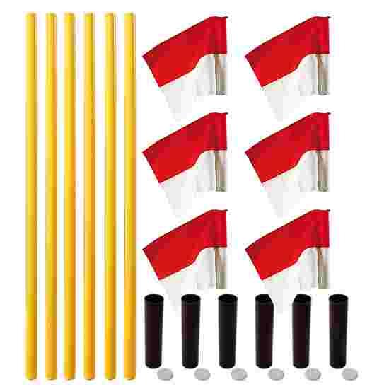 "Sport-Thieme ""All-Round"" Boundary Pole Set Yellow poles, red/white flags"