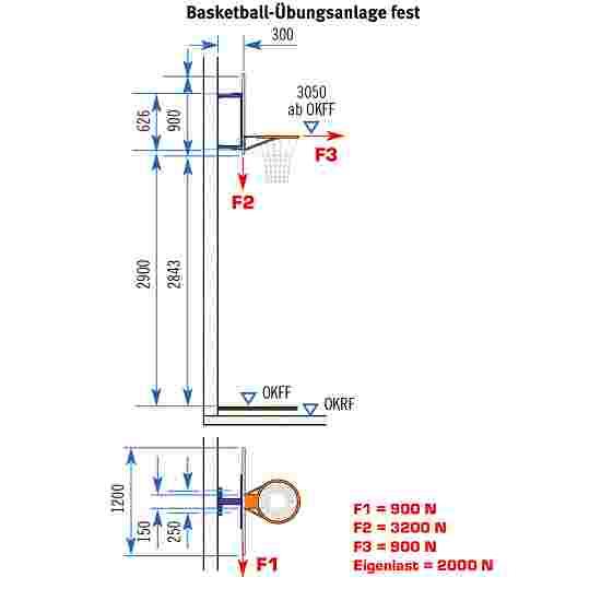 Sport-Thieme Basketball-vægstativ, fast Uden højdeindstilling
