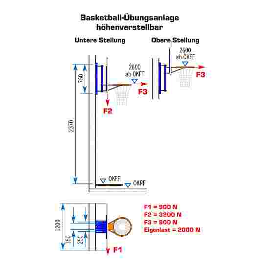 Sport-Thieme Basketball-vægstativ, fast Med højdeindstilling