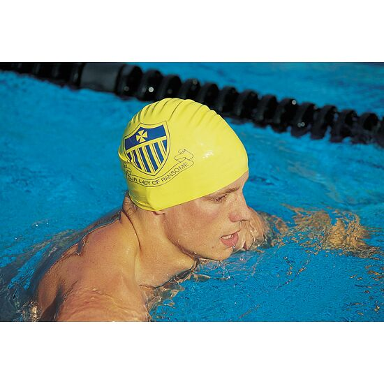 Sport-Thieme® Bedruckte Badekappe Silikon Schwarz, Beidseitig