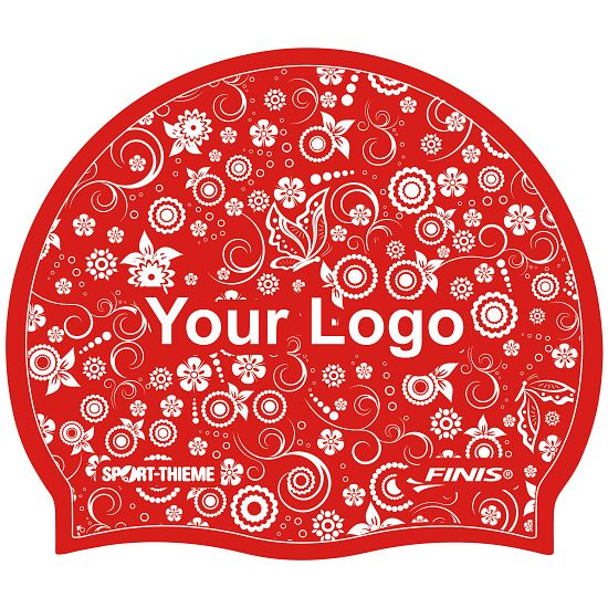 Sport-Thieme® Bedruckte Badekappe Silikon Rot, Beidseitig