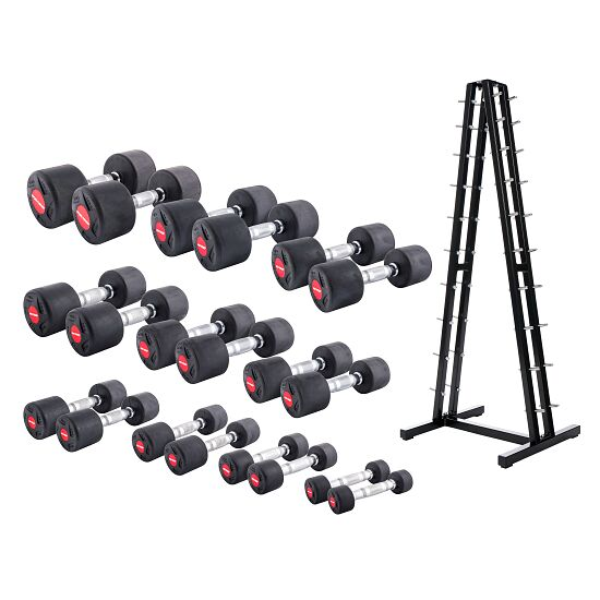 Sport-Thieme® Compact Rubber Dumbbell Set 1-10 kg, incl. dumbbell stand