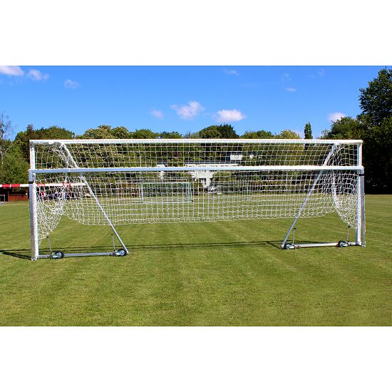 Sport-Thieme Full-Sized Football Goal with Folding Net Bracket and Base Frame Anodised matt silver, Net hooks