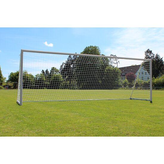 Sport-Thieme Großfeld-Fußballtor mit klappbarem Netzbügel und Bodenrahmen Mattsilber eloxiert, Netzhalter