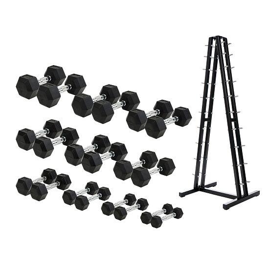 Sport-Thieme Gummi Hex Kompakthantel Set 1-10 kg, inkl. Kurzhantelständer