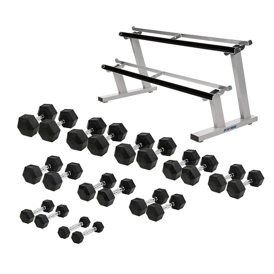 Sport-Thieme Gummi Hex Kompakthantel Set 1-22,5 kg, inkl. doppeltem Hantelablageständer