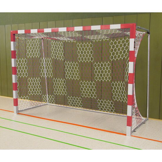 Sport-Thieme Håndboldmål 3x2 m, fritstående med faststående netbøjler Sammenskruede hjørner, Rød-sølv