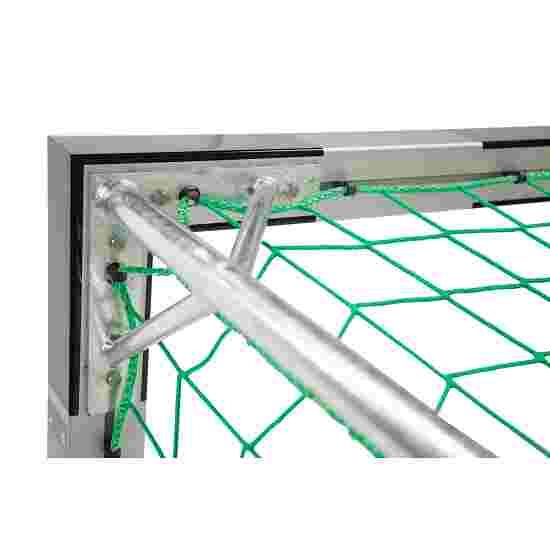 Sport-Thieme Hallenfußballtor 3x2 m, in Bodenhülsen stehend mit Premium-Stahl-Eckverbindung Mit feststehenden Netzbügeln, Schwarz-Silber