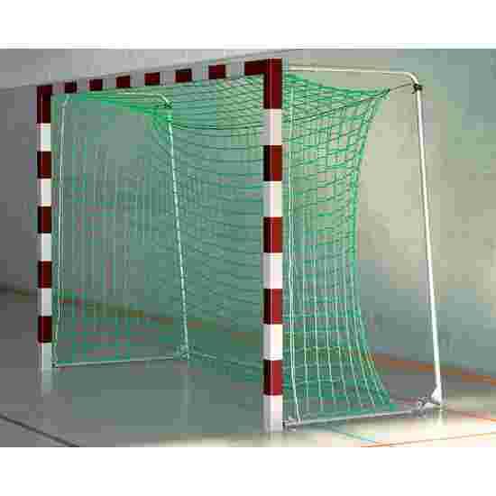 Sport-Thieme Hallenfußballtor 3x2 m, in Bodenhülsen stehend mit Premium-Stahl-Eckverbindung Mit anklappbaren Netzbügeln, Rot-Silber