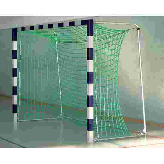 Sport-Thieme Hallenfußballtor 3x2 m, in Bodenhülsen stehend mit Premium-Stahl-Eckverbindung Mit anklappbaren Netzbügeln, Blau-Silber