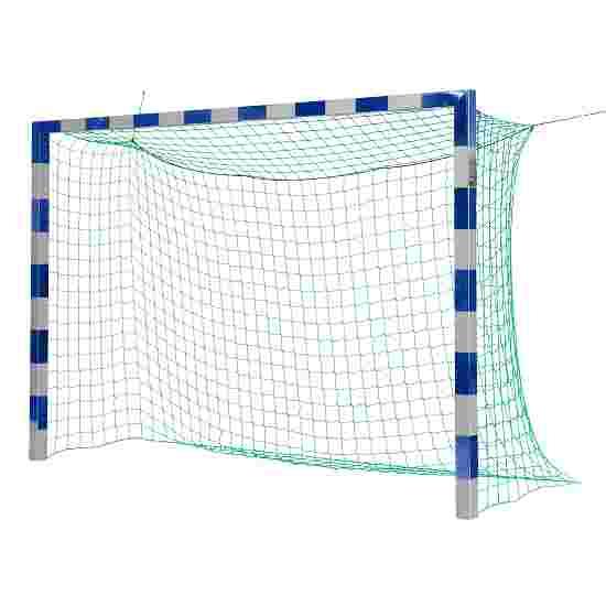 Sport-Thieme Hallenfußballtor 3x2 m, in Bodenhülsen stehend mit Premium-Stahl-Eckverbindung Ohne Netzbügel, Blau-Silber