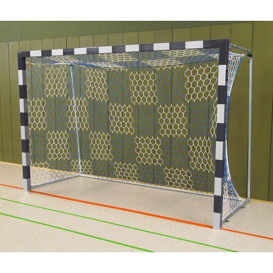 Sport-Thieme Hallenhandballtor  3x2 m, frei stehend mit feststehenden Netzbügeln Verschraubte Eckverbindungen, Schwarz-Silber
