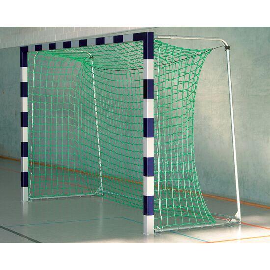 Sport-Thieme® Hallenhandballtor 3x2 m, in Bodenhülsen stehend Mit anklappbaren Netzbügeln, Blau-Silber