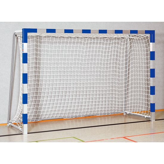 Sport-Thieme® Hallenhandballtor 3x2 m, in Bodenhülsen stehend Verschweißte Eckverbindungen, Blau-Silber