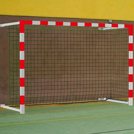 Sport-Thieme® Hallenhandballtor  3x2 m, schwenkbar, mit Wandbefestigung inkl. Netzbefestigung SimplyFix Rot-Silber