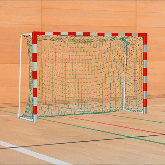 Sport-Thieme® IHF-Handballtor mit feststehenden Netzbügeln IHF, Tortiefe 1 m, Rot-Silber