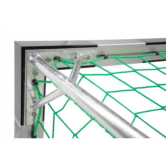 Sport-Thieme Indoor Football Goal, 3×2 m, in ground sockets, with premium-steel corner joints With fixed net brackets, Black/silver