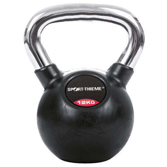Sport-Thieme® Kettlebell gummiert mit glattem Chrom-Griff 12 kg