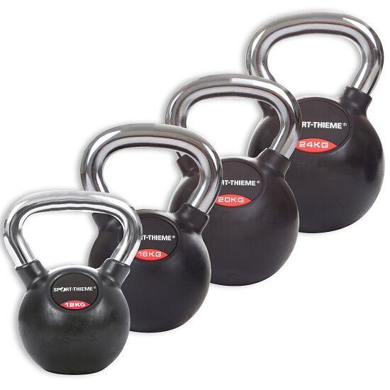 Sport-Thieme® Kettlebell Set gummiert mit glattem Chrom-Griff Mittel