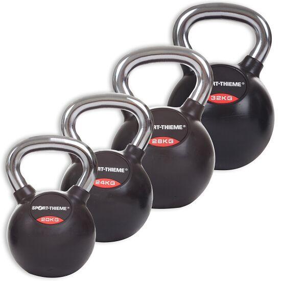 Sport-Thieme® Kettlebell Set gummiert mit glattem Chrom-Griff Schwer