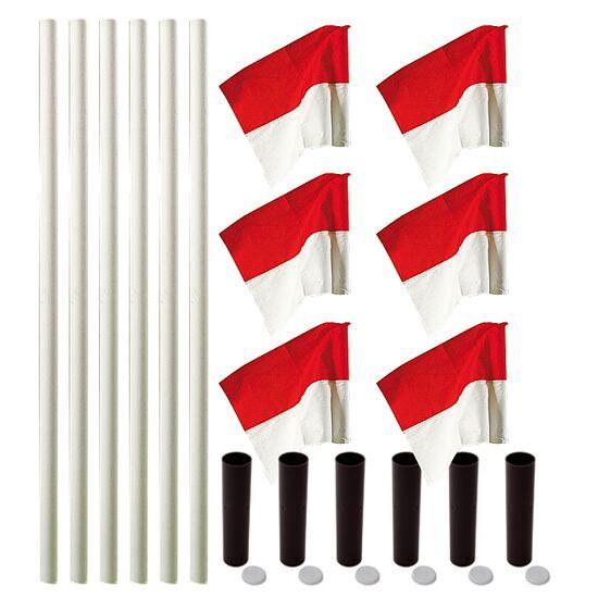 """Sport-Thieme Markeringsflags-sæt """"Allround"""" Stang hvid, fane rød-hvid"""