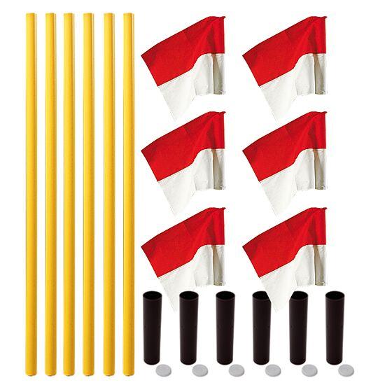 "Sport-Thieme® Markeringsflags-sæt ""Alround"" Stang gul, fane rød-hvid"