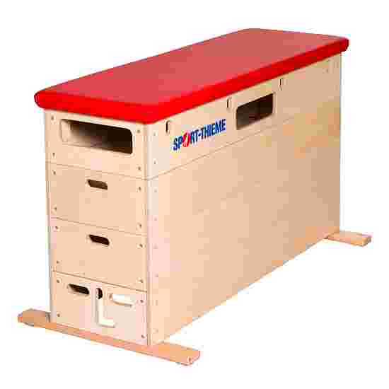 "Sport-Thieme ""Multiplex"" 4-Part Vaulting Box Without swivel castor kit, Synthetic leather cover, red"