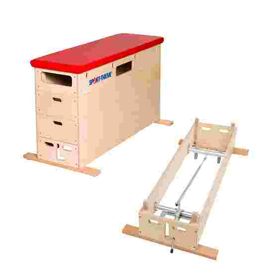 """Sport-Thieme """"Multiplex"""" 4-Part Vaulting Box With swivel castor kit, Synthetic leather cover, red"""