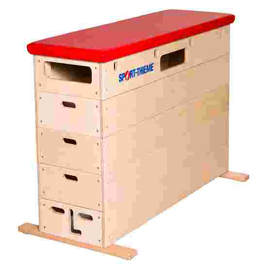 """Sport-Thieme """"Multiplex"""" 5-Part Vaulting Box Without swivel castor kit, Synthetic leather cover, red"""