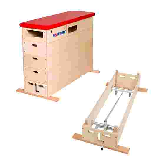 """Sport-Thieme """"Multiplex"""" 5-Part Vaulting Box With swivel castor kit, Synthetic leather cover, red"""