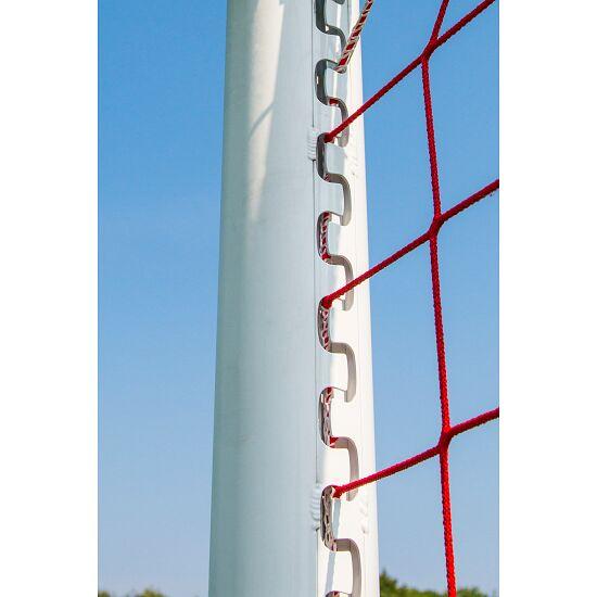 Sport-Thieme® Stadion-Großfeldtor 7,32x2,44m, weiß, in Bodenhülsen stehend, mit SimplyFix Netzbefestigung Silber