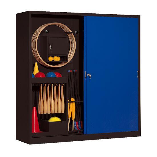 Sportgeräteschrank, HxBxT 195x190x60 cm, mit Vollblech-Schiebetüren (Typ 5) Enzianblau (RAL 5010), Anthrazit (RAL 7021)