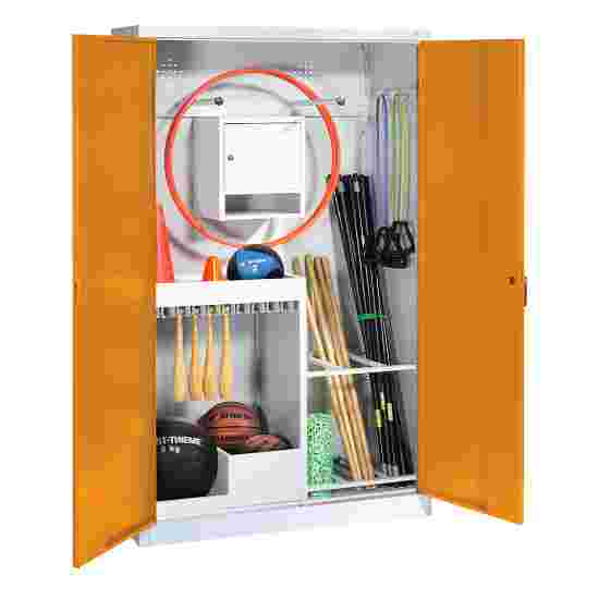 Sports Equipment Locker, HxWxD 195x120x50 cm, with metal double doors (type 1) Yellow orange (RAL 2000), Light grey (RAL 7035)