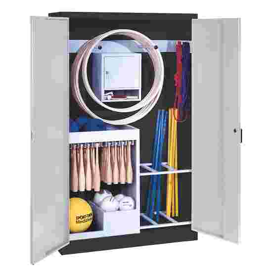 Sports Equipment Locker, HxWxD 195x120x50 cm, with metal double doors (type 1) Light grey (RAL 7035), Anthracite (RAL 7021)