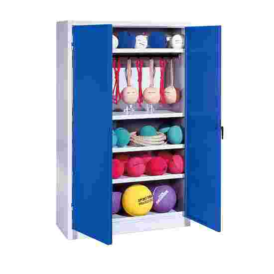 Sports Equipment Locker, HxWxD 195x120x50 cm, with metal double doors (type 2) Gentian blue (RAL 5010), Light grey (RAL 7035)