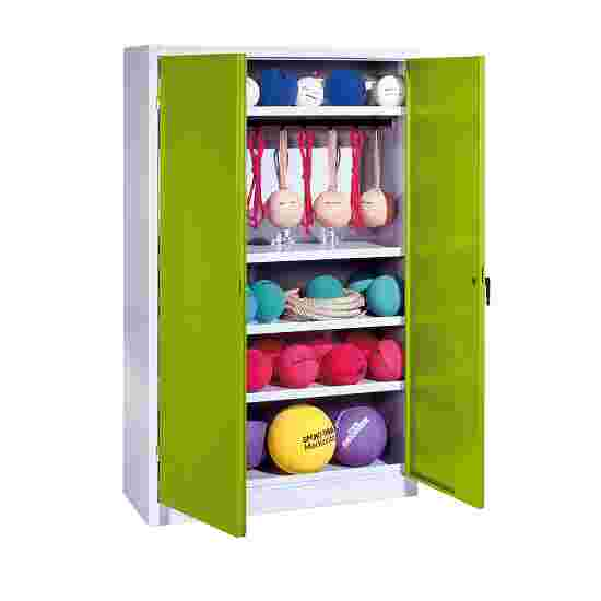 Sports Equipment Locker, HxWxD 195x120x50 cm, with metal double doors (type 2) Viridian green (RDS 110 80 60), Light grey (RAL 7035)