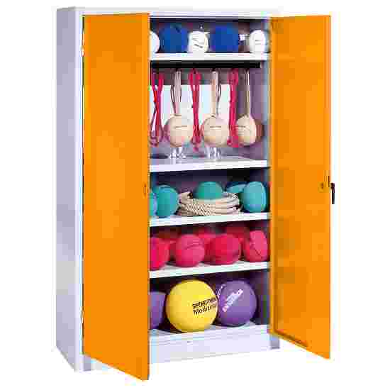 Sports Equipment Locker, HxWxD 195x120x50 cm, with metal double doors (type 2) Yellow orange (RAL 2000), Light grey (RAL 7035)