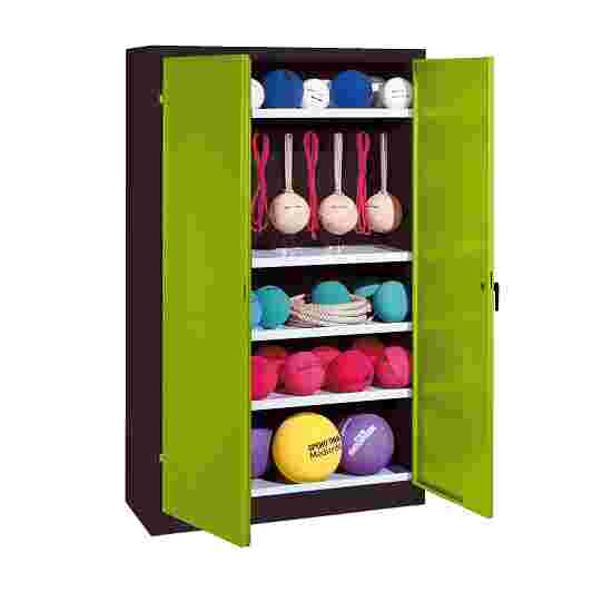 Sports Equipment Locker, HxWxD 195x120x50 cm, with metal double doors (type 2) Viridian green (RDS 110 80 60), Anthracite (RAL 7021)